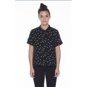 ELK Black White Dot Silk Button Shirt Australia
